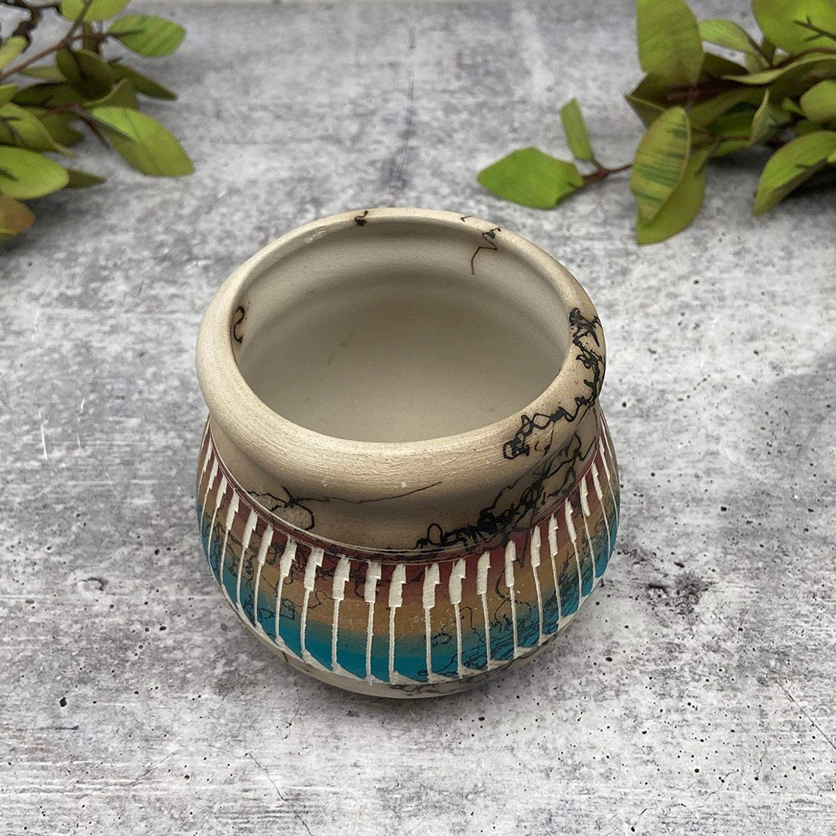 Authentic Native American Pottery, Miniature Traditional Olla Style, Genuine Navajo Tribe USA Handpainted and Etched, Artist Signed, Southwestern Home Decor Collectible