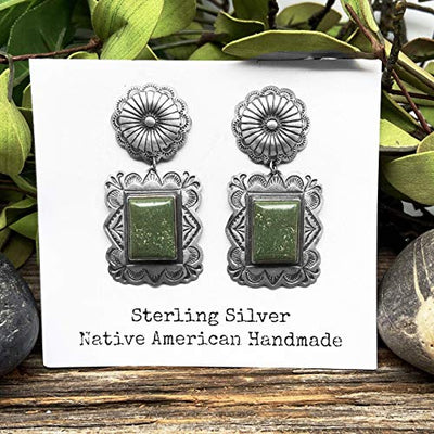 Genuine Green Turquoise Statement Earrings, Oxidized Sterling Silver, Authentic Navajo Native American USA Handmade, Artist Signed, Nickle Free, Southwest Vintage Style