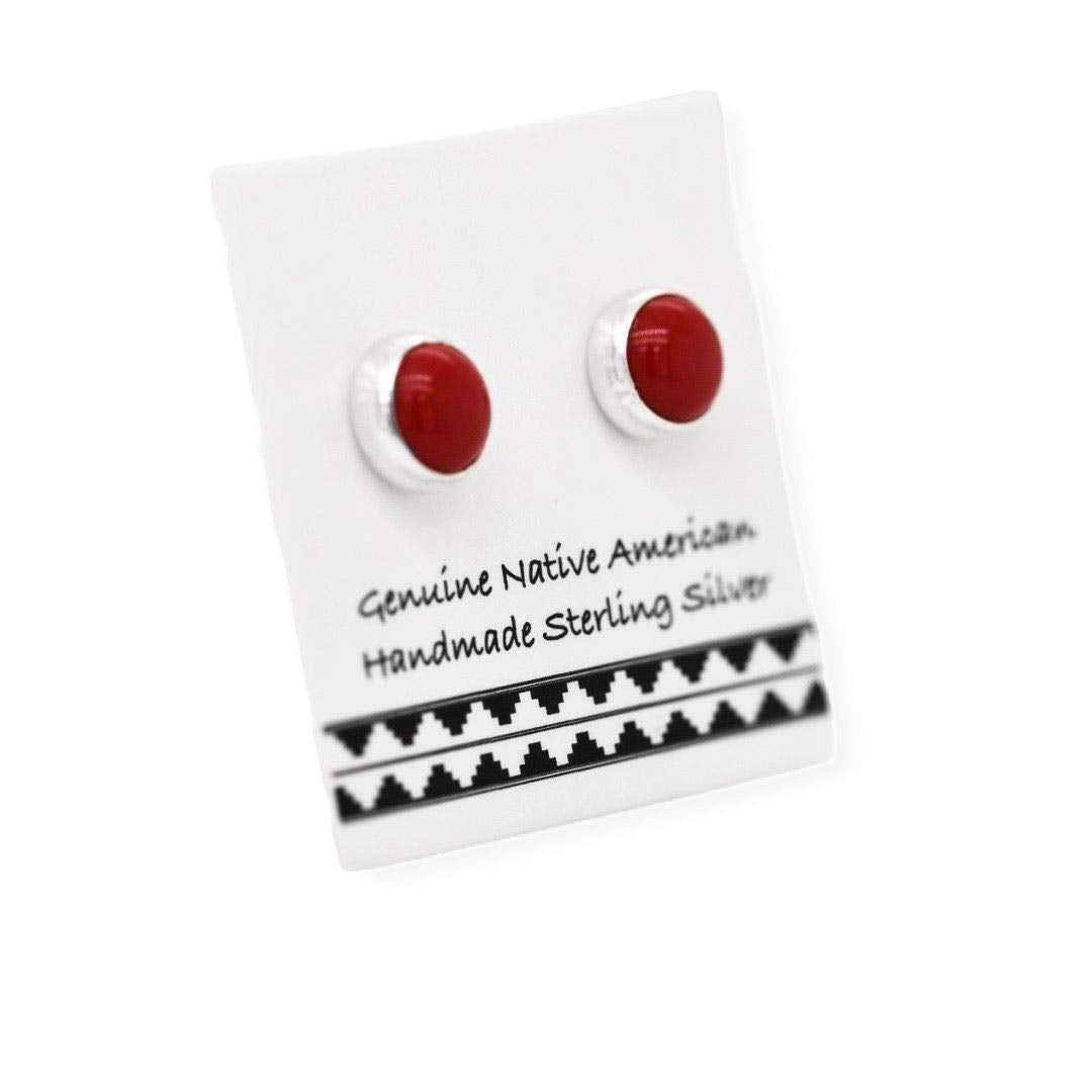 5mm Red Coral Stud Earrings, 925 Solid Sterling Silver, Native American USA Handmade, Nickle Free