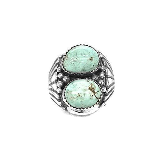 Genuine Dry Creek Turquoise Ring, Size 14.5, Sterling Silver, Authentic Navajo Native American USA Handmade, Nickel Free, Southwest Jewelry for Men
