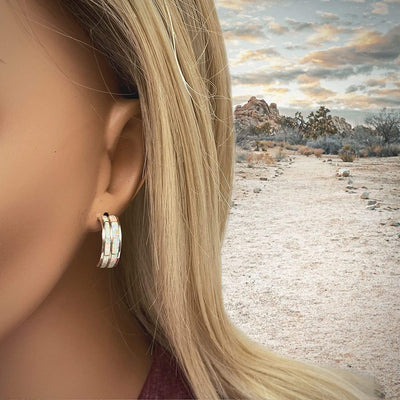 Desert Opal Small Half Hoop Earrings, Native American USA Handmade, 925 Sterling Silver, White Synthetic Opal, Nickle Free