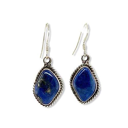 Genuine Lapis Lazuli Earrings, 925 Sterling Silver, Native American USA Handmade, Artisan Signed, Nickel Free, Navy Blue, French Hook