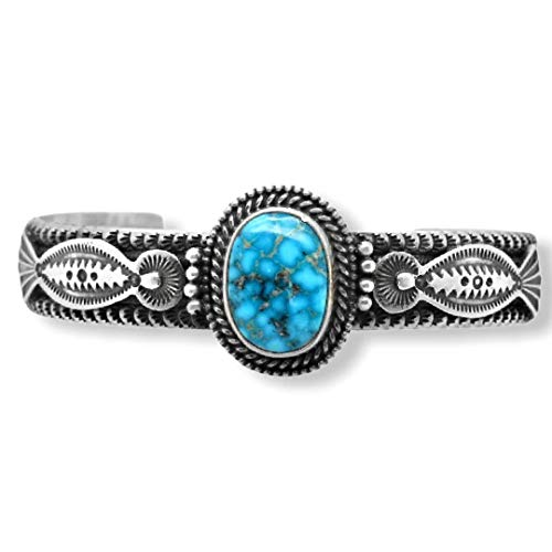 Genuine Lone Mountain Turquoise Cuff Bracelet, Sterling Silver, Authentic Navajo Native American USA Handmade, Artist Signed, One of a Kind, Size Women's Large