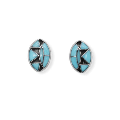 Genuine Sleeping Beauty Turquoise and Onyx Inlay Earrings in 925 Sterling Silver, Authentic Native American Handmade