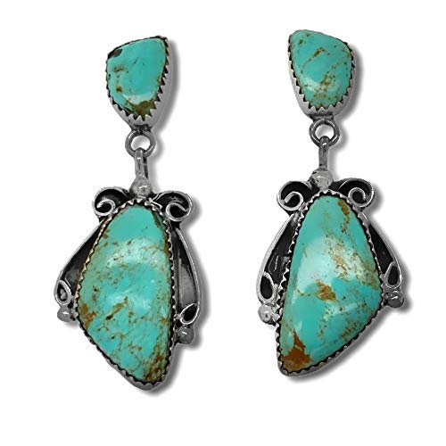Genuine Turquoise Earrings, Sterling Silver, Authentic Navajo Native American USA Handmade, Artist Signed, Nickle Free, Small Batch Southwest, Post