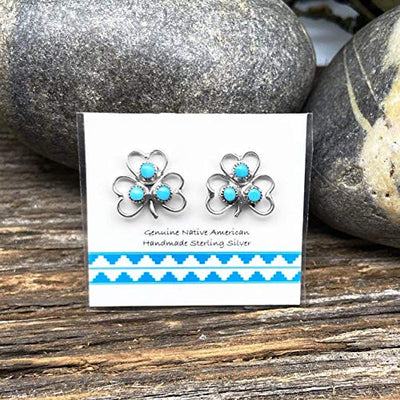 Genuine Sleeping Beauty Turquoise Cluster Stud Earrings, 925 Sterling Silver, Native American USA Handmade, Lucky Clover