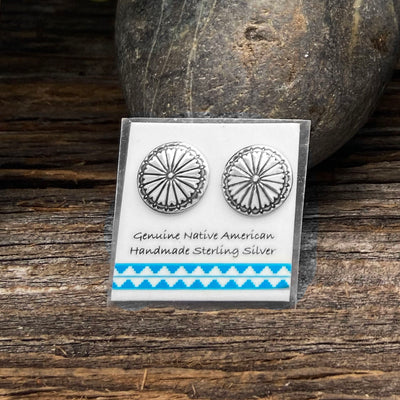11mm Concho Earrings, 925 Sterling Silver, Native American USA Handmade, Nickle Free, Southwestern Style