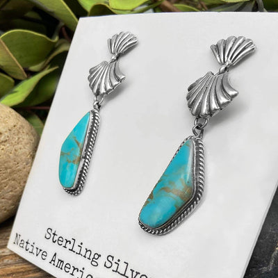 Genuine Royston Turquoise Earrings, 925 Sterling Silver, Authentic Navajo Native American Handmade, Artisan Signed, Nickle Free
