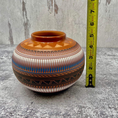 Authentic Native American Pottery, Traditional Olla Style, Genuine Navajo Tribe USA Handpainted and Etched, Artist Signed, Southwestern Home Decor Collectible