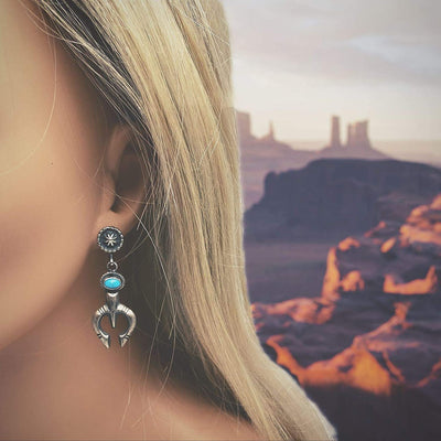 Genuine Sleeping Beauty Turquoise Earrings, Oxidized Sterling Silver, Authentic Navajo Native American USA Handmade, Artist Signed, Nickle Free, Southwest Vintage Style