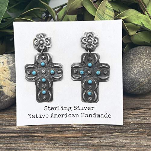 Genuine Sleeping Beauty Turquoise Cross Earrings, Oxidized Sterling Silver, Authentic Navajo Native American USA Handmade, Artist Signed, Nickle Free, Southwest Vintage Style