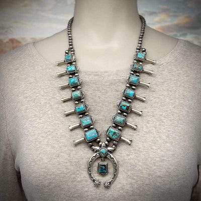 Genuine Turquoise Squash Blossom Necklace Set, Navajo Native American Tribe Handmade, Nevada Royston Mine Turquoise, Oxidized 925 Sterling Silver, Artisan Signed, One of a Kind Statement Piece