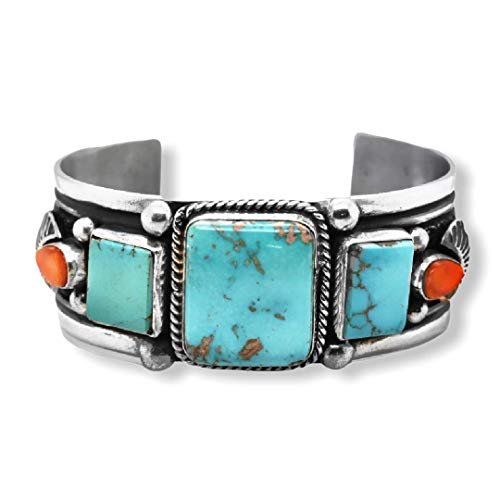 Genuine Easter Blue Turquoise and Spiny Oyster Cuff Bracelet, Sterling Silver, Authentic Navajo Native American USA Handmade, Artist Signed, One of a Kind, Size Women's Medium
