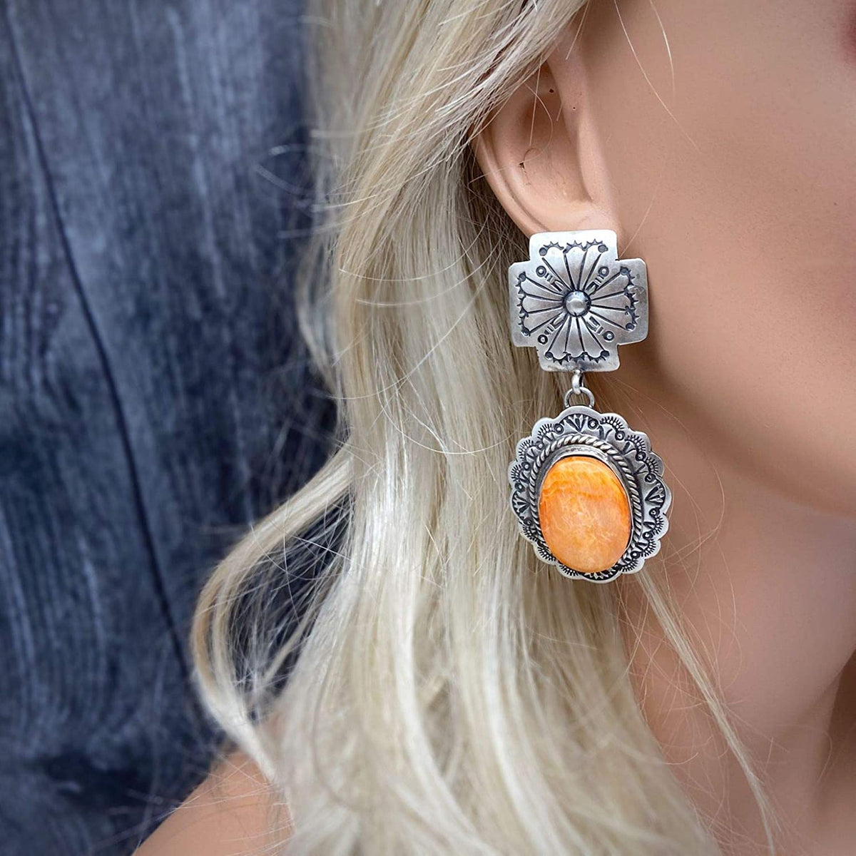 Genuine Orange Spiny Oyster Statement Earrings, Oxidized Sterling Silver, Authentic Navajo Native American USA Handmade, Artist Signed, Nickle Free, Southwest Vintage Style