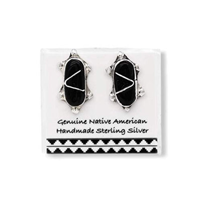 Genuine Onyx Turtle Stud Earrings in 925 Sterling Silver, Authentic Native American USA Handmade, Southwest Jewelry with Natural Black Stone