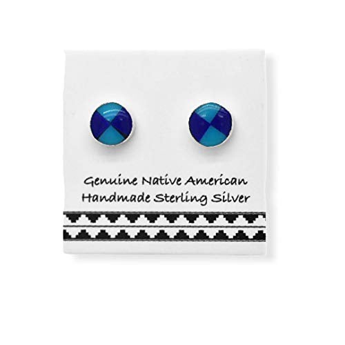 5mm Genuine Sleeping Beauty Turquoise and Lapis Lazuli Stud Earrings, 925 Sterling Silver, Native American Handmade, Nickle Free