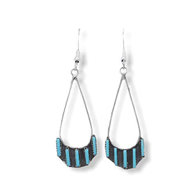 Genuine Sleeping Beauty Turquoise Earrings, 925 Sterling Silver, Native American USA Handmade, Zuni Tribe Needlepoint Style, French Hook Style, Nickel Free