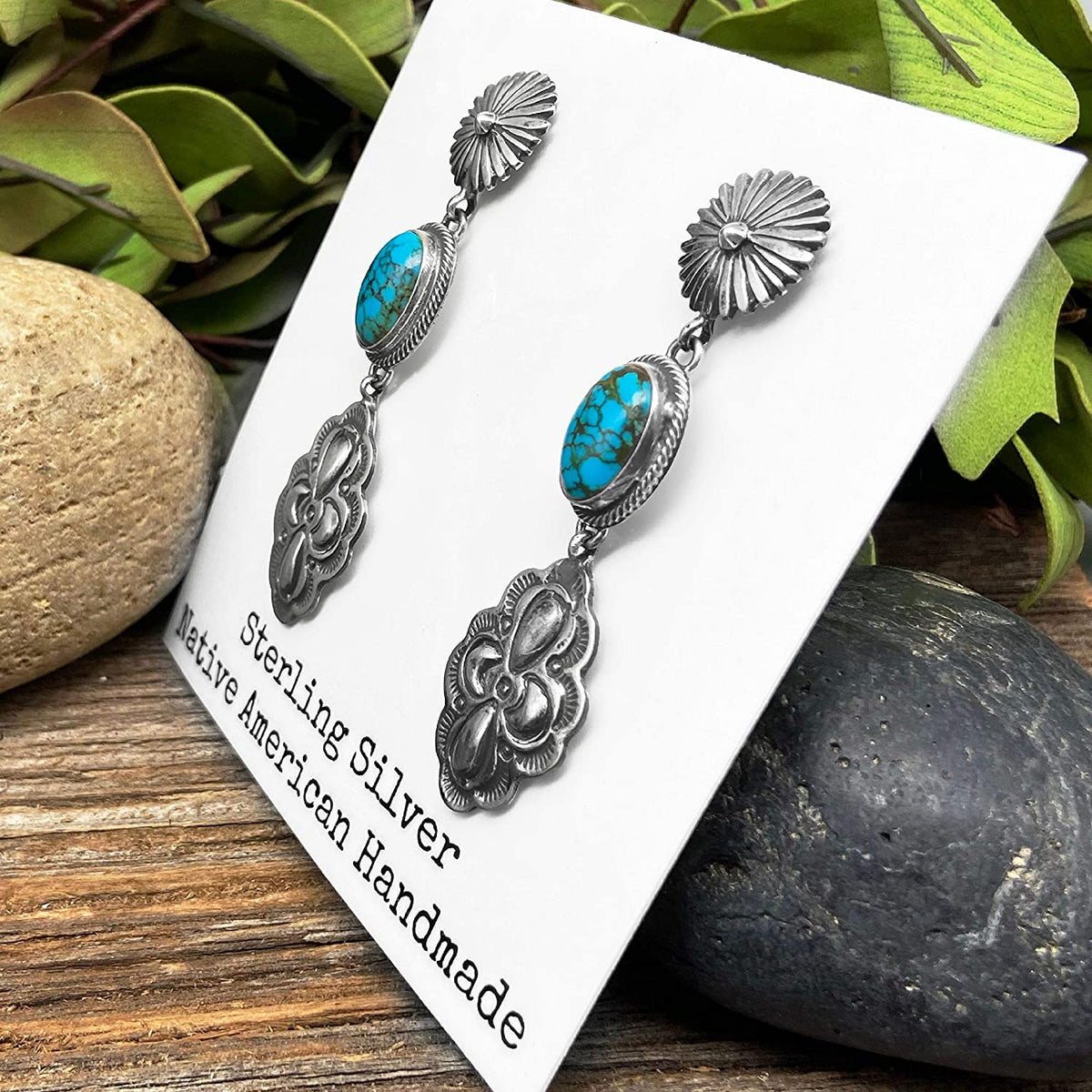 Genuine Kingman Turquoise Statement Earrings, Oxidized Sterling Silver, Authentic Navajo Native American USA Handmade, Artist Signed, Nickle Free, Southwest Vintage Style