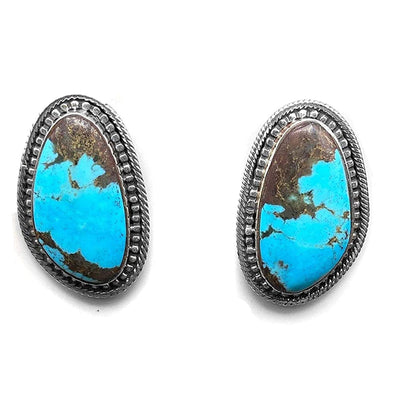 Genuine Royston Turquoise Earrings, 925 Sterling Silver, Native American USA Handmade, Nickle Free, Genuine Stone, Post Style