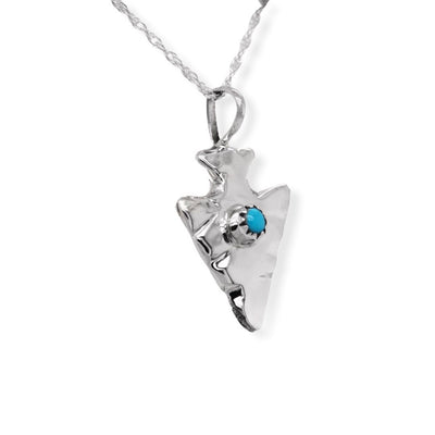 Genuine Sleeping Beauty Turquoise Arrow Necklace, Pendant and Chain Set, 925 Sterling Silver, Native American USA Handmade, Nickle Free