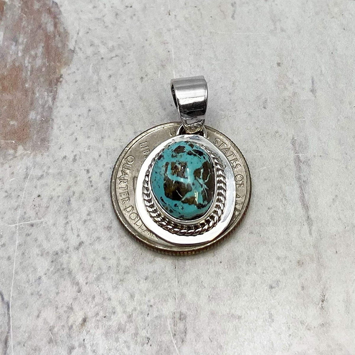 Genuine Sierra Nevada Turquoise Necklace Set, Pendant with Chain, Navajo Native American USA Handmade, 925 Sterling Silver, Artist Signed, Natural Stone, Nickel Free