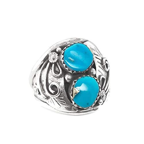 Genuine Kingman Turquoise Ring, Size 11.5, Sterling Silver, Authentic Navajo Native American USA Handmade, Nickel Free, Southwest Jewelry for Men