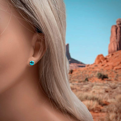 Genuine Sleeping Beauty Turquoise Zuni Sunface Earrings, 925 Sterling Silver, Native American USA Handmade, Nickle Free
