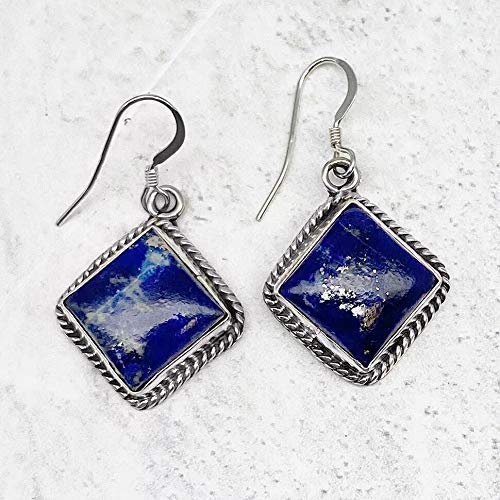 Genuine Lapis Lazuli Earrings, 925 Sterling Silver, Native American USA Handmade, Nickle Free, Navy Blue, French Hook