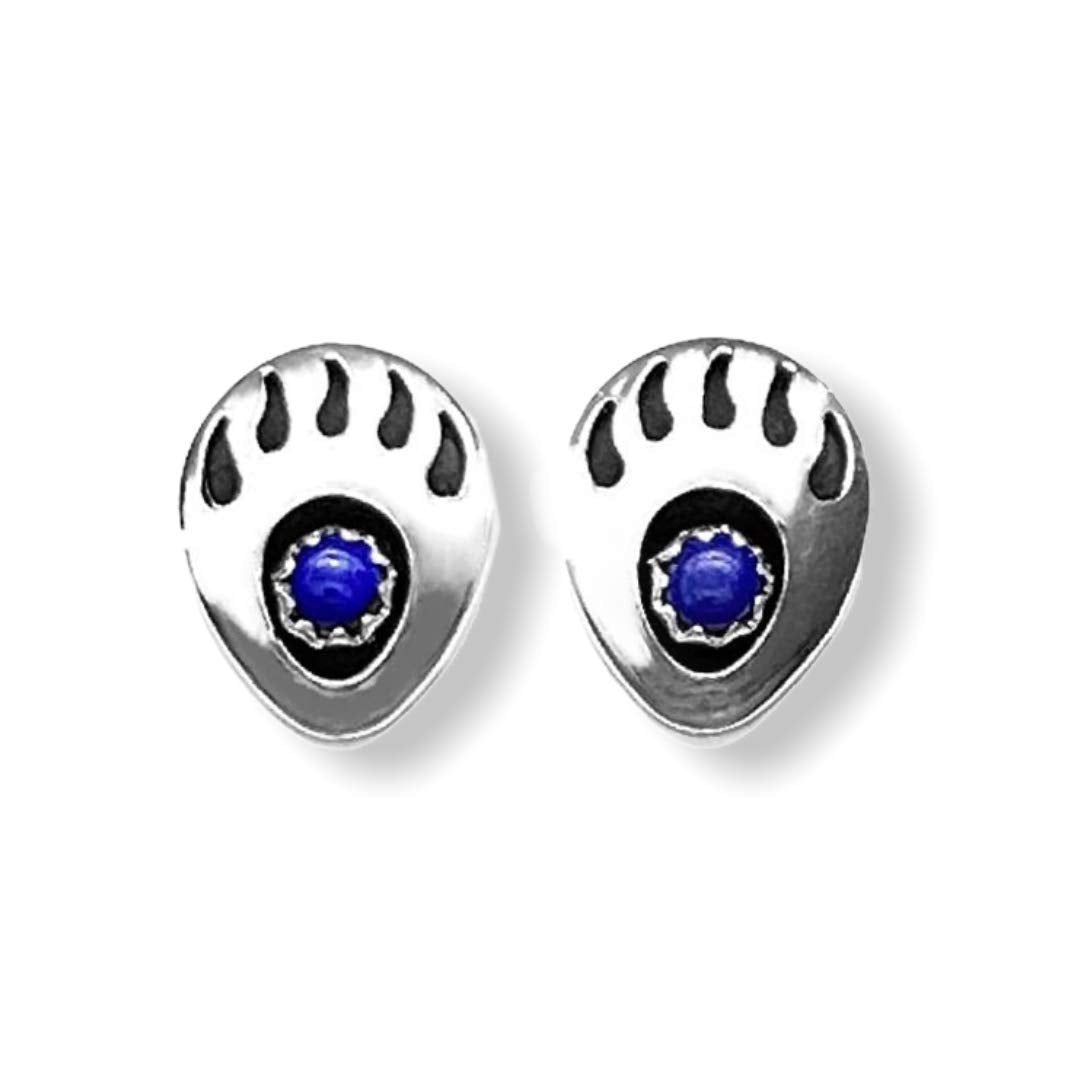Genuine Lapis Lazuli Stud Earrings in 925 Sterling Silver, Southwest Bear Paw Style, Native American USA Handmade, Nickle Free, Navy Blue