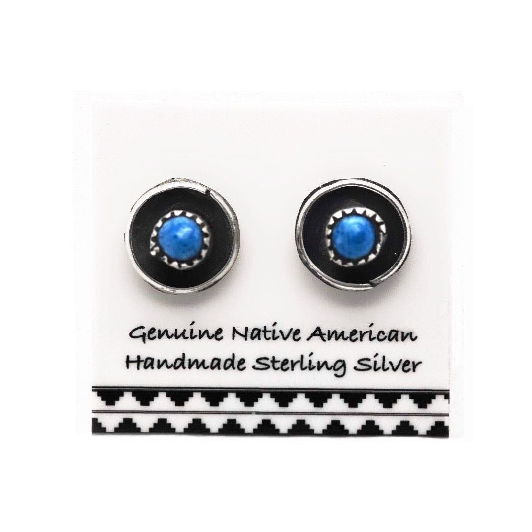 Genuine Denim Lapis Stud Earrings, 925 Sterling Silver, Authentic Native American, Handmade in the USA, Nickle Free