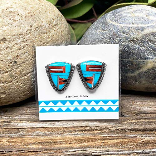 Genuine Sleeping Beauty Turquoise and Spiny Oyster Shell Earrings, 925 Sterling Silver, Native American USA Handmade, Nickle Free, Genuine Stone, Post Style