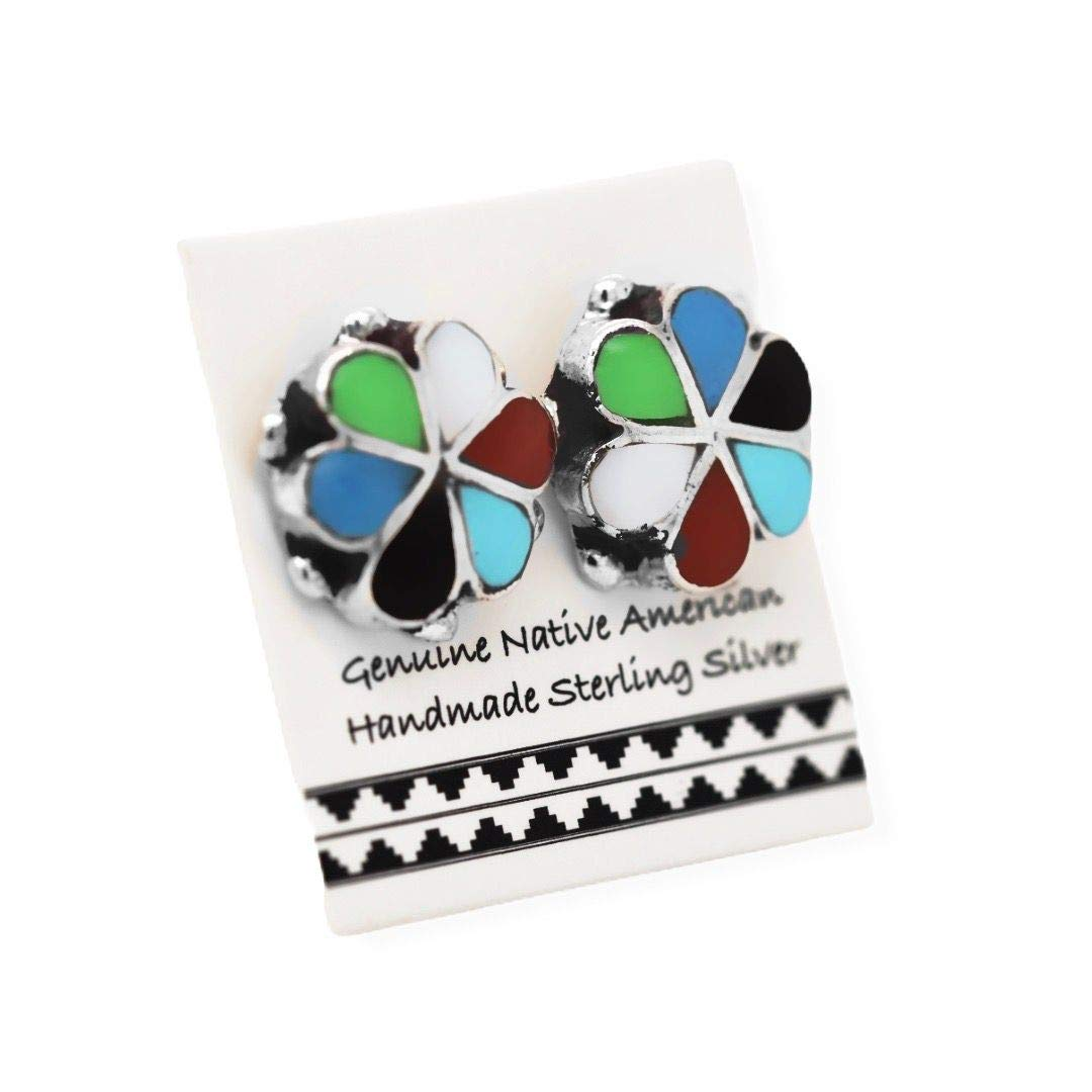 Genuine Multistone Stud Earrings, 925 Sterling Silver, Native American USA Handmade, Nickle Free, Multicolor Flower, Genuine Stone