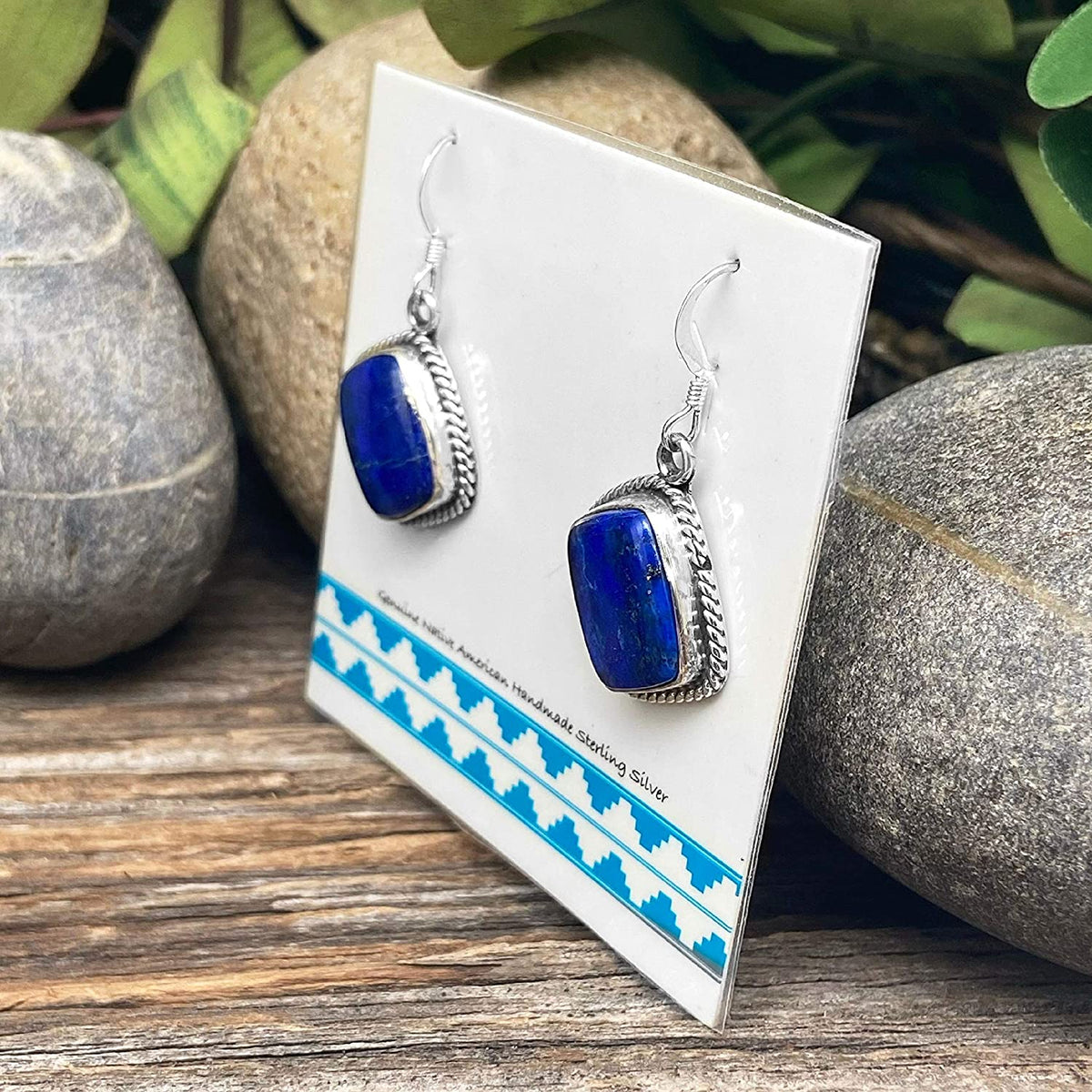 Genuine Lapis Lazuli Earrings, 925 Sterling Silver, Native American USA Handmade, Artisan Signed, Nickle Free, Navy Blue, French Hook