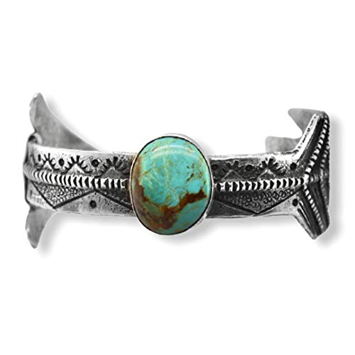 Genuine Royston Turquoise Cuff Arrow Bracelet, Sterling Silver, Authentic Navajo Native American USA Handmade, Artist Signed, One of a Kind, Size Women's Large