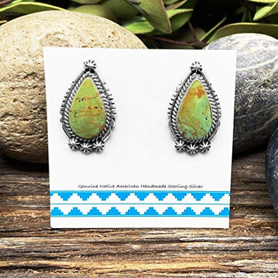 Genuine Royston Turquoise Earrings, 925 Sterling Silver, Artisan Signed, Authentic Native American, Handmade in the USA, Nickle Free, Green