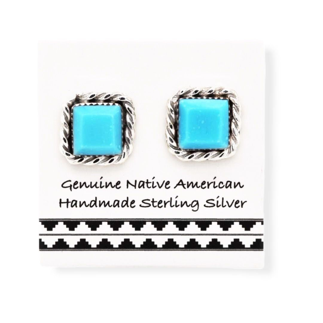 Genuine Sleeping Beauty Turquoise Stud Earrings in Solid 925 Sterling Silver, Authentic Native American Handmade, Nickle Free