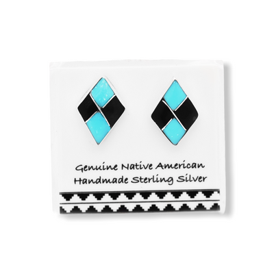 Genuine Sleeping Beauty Turquoise and Onyx Stud Earrings in 925 Sterling Silver, Native American Handmade, Diamond Shaped, Nickle Free