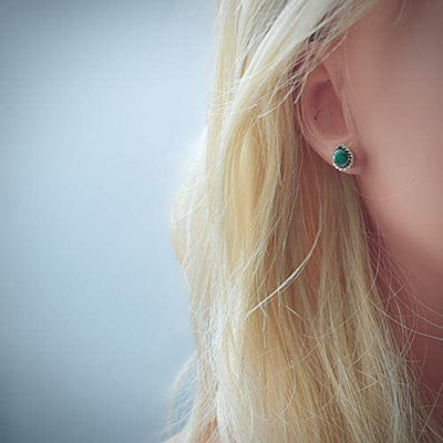8mm Genuine Malachite Stud Earrings in 925 Sterling Silver, Braided Teardrop, Native American USA Handmade, Nickle Free, Dark Green