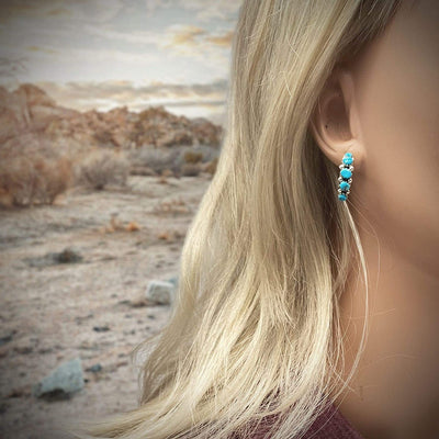 Genuine Kingman Turquoise Half Hoop Earrings in 925 Sterling Silver, Native American Handmade in the USA, Nickle Free