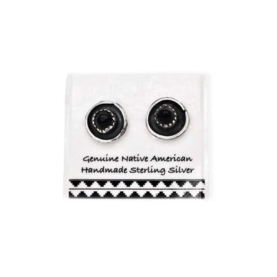 8mm Genuine Onyx Stud Earrings in 925 Sterling Silver, Authentic Native American Handmade, Southwest Jewelry with Natural Black Stone