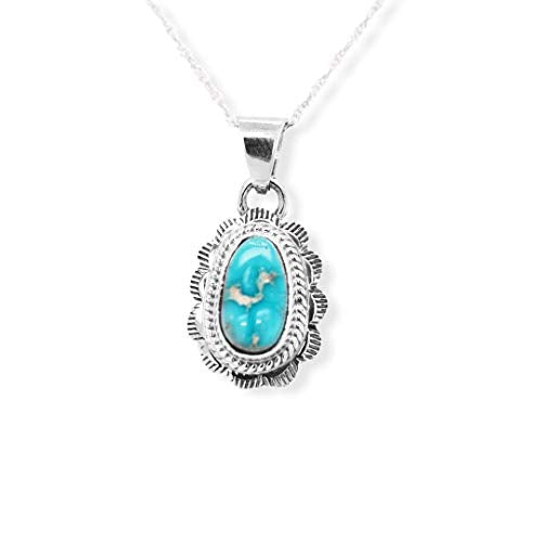 Genuine Turquoise Necklace, Pendant with Chain, Navajo Native American USA Handmade, 925 Sterling Silver, Artist Signed, Natural Stone, Nickle Free