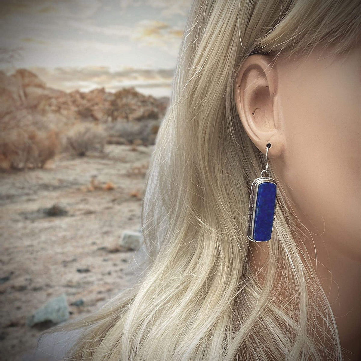 Genuine Lapis Lazuli Statement Earrings, 925 Sterling Silver, Native American USA Handmade, Artisan Signed, Nickel Free, Navy Blue, French Hook