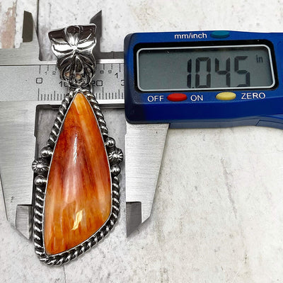 Genuine Orange Spiny Oyster Shell Pendant, Navajo Native American USA Handmade, 925 Sterling Silver, Artist Signed, Natural Shell, Nickel Free