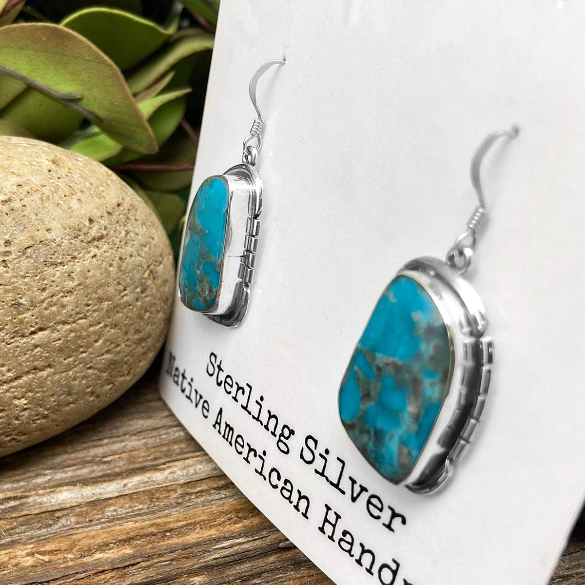 Genuine Kingman Turquoise Earrings, Sterling Silver, Authentic Navajo Native American USA Handmade, Artisan Signed, Nickle Free, French Hook