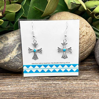 Genuine Sleeping Beauty Turquoise Cross Earrings, 925 Sterling Silver, Native American USA Handmade, French Hook Style, Nickle Free