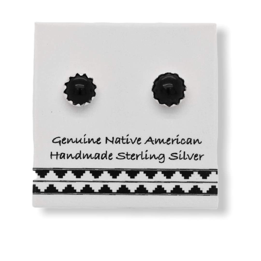 4mm Genuine Onyx Stud Earrings in 925 Sterling Silver, Authentic Native American Handmade, Southwest Jewelry with Natural Black Stone