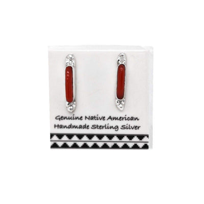 Genuine Red Coral Bar Stud Earrings, 925 Sterling Silver, Native American USA Handmade, Nickle Free