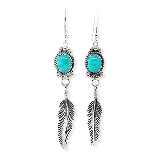 Genuine Sleeping Beauty Turquoise Earrings, 925 Sterling Silver, Native American USA Handmade, French Hook Style, Nickel Free, Southwestern Feather