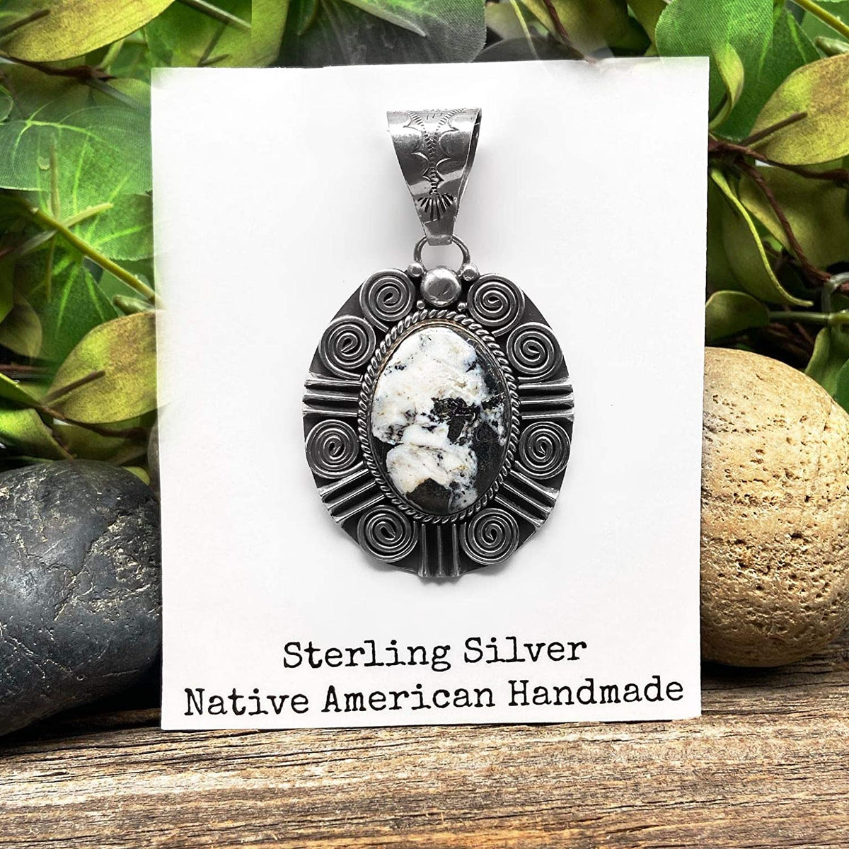 Genuine White Buffalo Stone Pendant, Sterling Silver, Authentic Navajo Native American USA Handmade, Artist Signed, Nickel Free, Southwest Jewelry