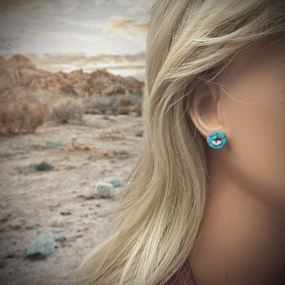 13mm Genuine Stone Zuni Sunface Stud Earrings in 925 Sterling Silver, Turquoise and Coral, Native American USA Handmade, Nickle Free